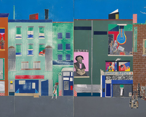 The Block1971Romare Bearden (American)Cut and pasted printed, colored and metallic papers, photostats, pencil, ink marker, gouache, watercolor, and pen and ink on MasoniteGift of Mr. and Mrs. Samuel Shore, 1978 (1978.61.1–6)© Romare Bearden Foundation/Licensed by VAGA, New York, NY photography by mma, Digital File DT9355.tif retouched by film and media (jnc) 4_26_11
