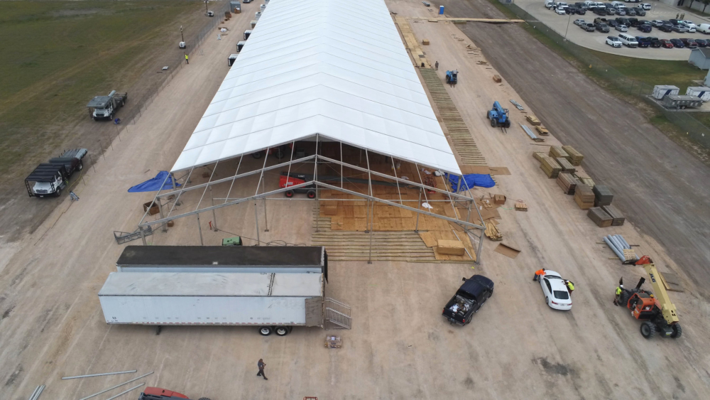 An aerial view of temporary soft sided facilities under construction in Donna, Texas, April, 2019. The facilities will be used for processing, care and transfer of record numbers of migrants including families and unaccompanied children crossing the border illegally daily CBP photo.