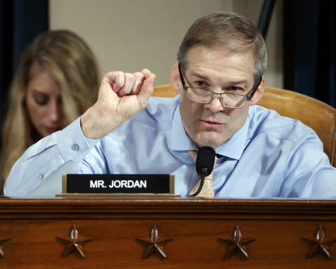 Rep. Jim Jordan, R-Ohio, questions Jennifer Williams, an aide to Vice President Mike Pence, and National Security Council aide Lt. Col. Alexander Vindman, as they testify before the House Intelligence Committee on Capitol Hill in Washington, Tuesday, Nov. 19, 2019, during a public impeachment hearing of President Donald Trump's efforts to tie U.S. aid for Ukraine to investigations of his political opponents. (Shawn Thew/Pool Photo via AP)