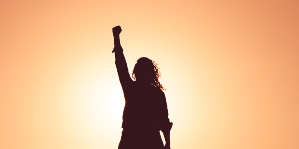 A silhouette with long curly hair raises a fist in the sunlight.