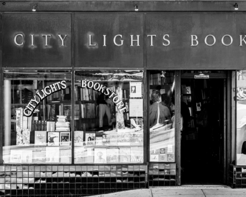 A black and white photograph of City Lights Bookstore