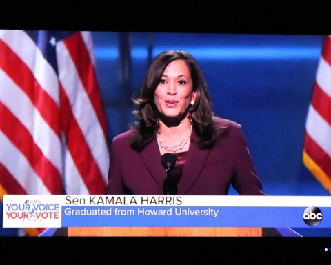 An image of Kamala Harris speaking on television.