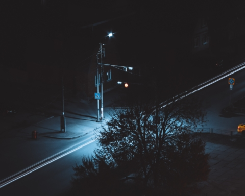 Traffic light on night time