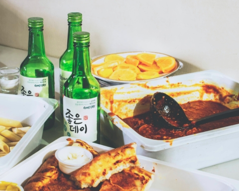 International foods spread out on a table.