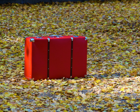 A bright red suitcase sits upon autumn leaves.